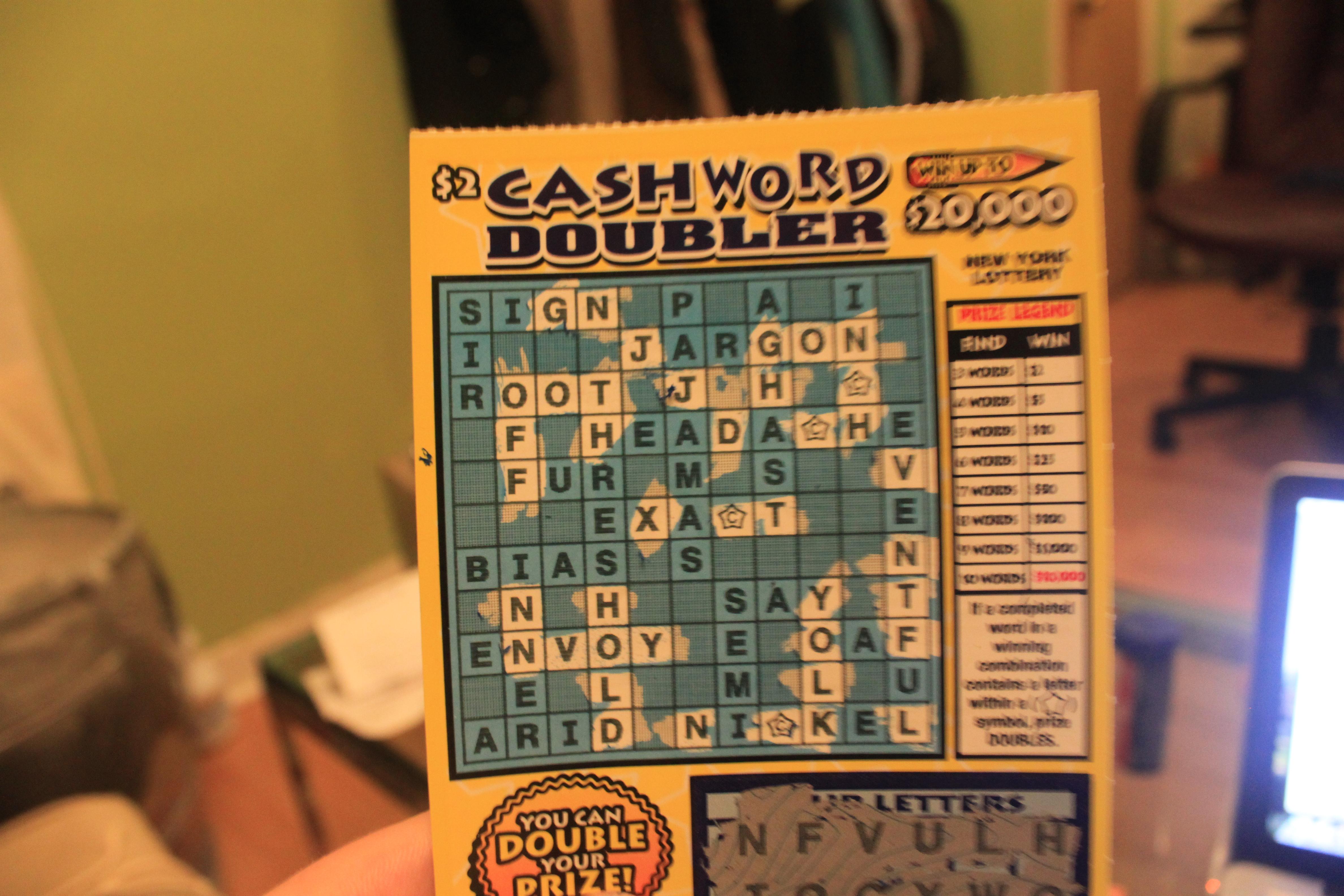 Cashword Doubler scratched off boxes