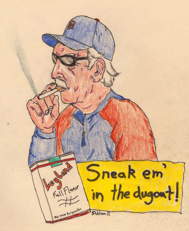 drawing of Jim Leyland smoking cigarette original artwork by scott watson for baseballfordinner.com Detroit Tigers World Series 2012