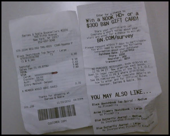 Image result for barnes and noble receipt